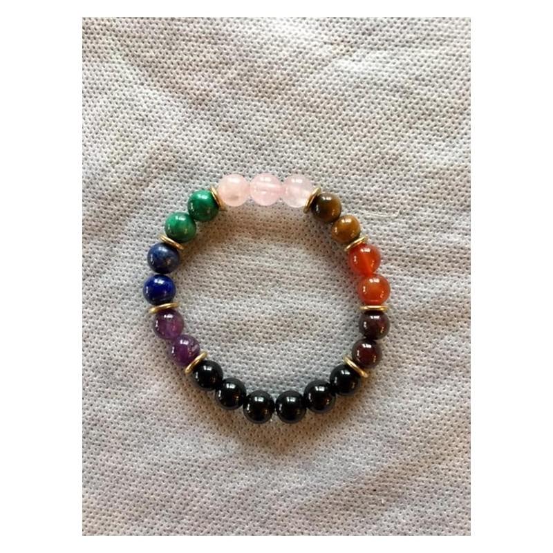 bracelet 7 chakras tourmaline haute qualité