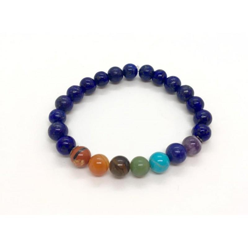 bracelet 7 chakras connecteurs lapis lazuli