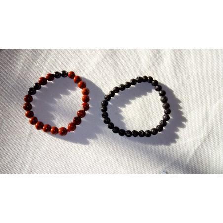 bracelets jaspe rouge et hématite et pierre de lave