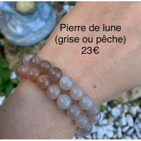 bracelet pierre de lune grise ou pêche
