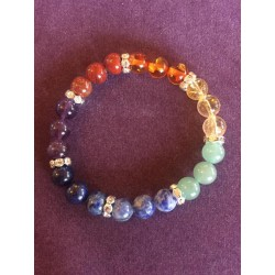 bracelet 7 chakras véritable et strass