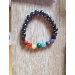 bracelet 7 chakras hématite et jaspe calcites opales