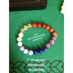 bracelet 7 chakras véritable et cristal de roche
