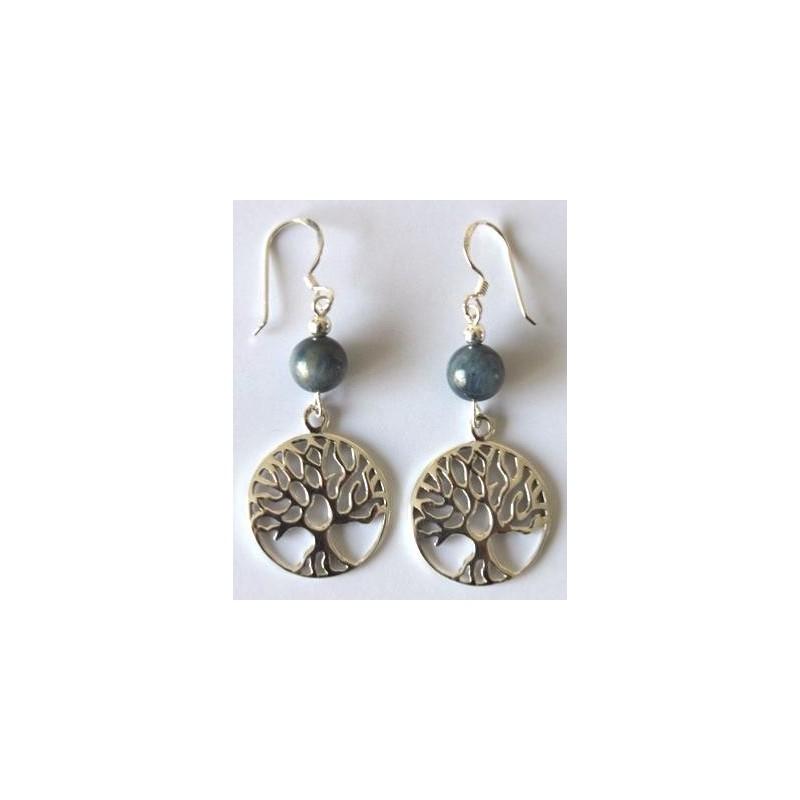 Boucles d'oreilles cyanite argent et arbre de vie