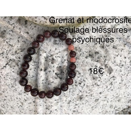 bracelet grenat et rhodocrosite