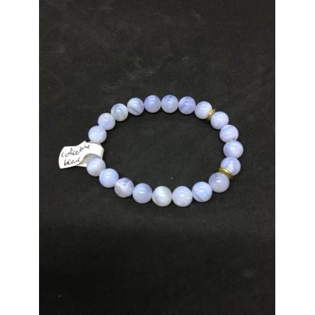 bracelet calcédoine bleue et rondelles
