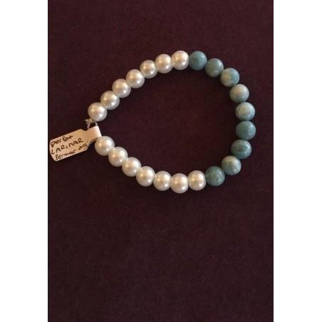 bracelet larimar et howlite blanche