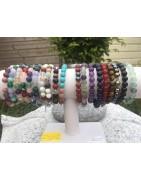 Bracelets pierres boules en pierres naturelles semi précieuses polies
